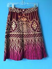 Matthew Williamson Wool Skirt UK 8 USA 4 Mexican Aztec Print EUC Gorgeous Colors