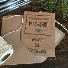 Handmade Wedding Invitations, Light Blue & Brown Kraft, Vintage Rustic Style