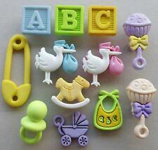 BG Oh Baby-Niño Niña Mecedora Caballo Sonajero cigüeña Cochecito Babero Maniquí Craft Botones