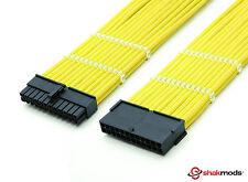 24 Pines Atx Psu Cable de extensión Amarillo Con Mangas fuente de alimentación extensión shakmods