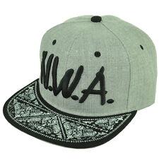 N.W.A. NWA LA Compton Paisley Snapback Flat Bill Brim Hat Cap Heather Gray Black