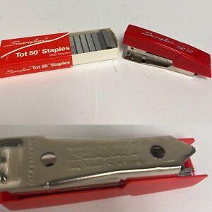 """Vintage Red Swingline Tot 50 Mini Small Pocket Stapler Staples 3""""-RETRO-WORKS!!"""