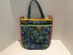 Lucky Brand Canvas Tote Bag Blue Flowers