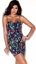 New Womens Lipsy Strappy Bodycon Dress Neon Love Print Faux Leather Detail UK16