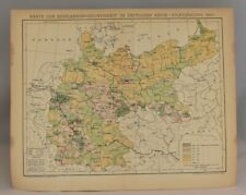 German Empire Population Density Rare Map | Collectable Antique Print 1893-97
