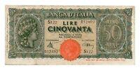 ITALY banknote 50 Lire 1944 VF