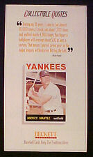 Mickey Mantle Yankees 1964 Baseball Card Beckett Publications Quotes Promo Ad
