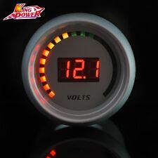 """White Auto Car 2"""" 52mm Red Digital Color 20 LED Volt Voltage 8-18V Gauge Meter"""