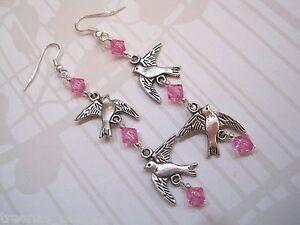 LONG DROP BIRD CHAIN HOT PINK BEAD Tibetan Silver Earrings VINTAGE STYLE Gift