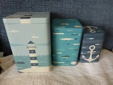 Set of 3 seaside themed storage tins - anchor, lighthouse and fish - Brand New