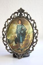 Vintage Italian Intricate Brass Oval Frame Blue boy