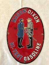 Vintage Gas Sign, Mason-Dixon, 1953, Hi-Test Gasoline, Porcelain