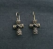 STERLING SILVER HEAVY ONYX CROSS CRUCIFIX EARRINGS  925 SOLID