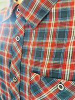 MERRELL Men's L Plaid Shirt Long Sleeve Button Red White Blue Select Wick #184