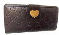 Auth GUCCI GG Pattern Leather Long Wallet Purse Y-1654