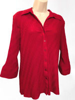 Croft & Barrow Stretch XL Women's Blouse Red 3/4 Sleeve Button Down Shirt