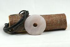 Donut Anhänger ROSENQUARZ, ca. 40 mm, mit Leder-Band, PI Stein, PI Scheibe