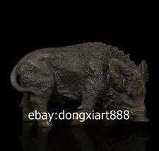 26CM Western Art Deco Pure Bronze Copper Wild Boar Pig Animal Figurine Sculpture