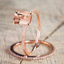 Rose Gold Square Champagne Topaz Cubic Zircon Wedding Engagement Set Rings Gift