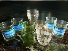 Lot de 9 verres vintage alcools St Raphael années 60-70 rues de Paris Coca-cola®