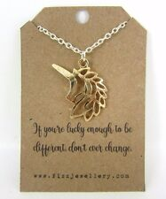 "Girls Silver Gold Unicorn ""Don't Change"" 18"" Necklace New Message Card Necklace"