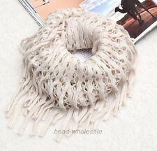 Women Warm Infinity 2 Circle Cable Knit Cowl Neck Tassel Scarf Shawl Winter Gift