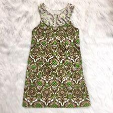Milly New York Womens 6 Green Geo Print Summer Cotton Sleeveless Shift Dress