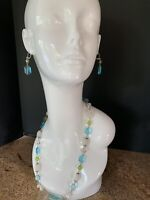 3 Silver Tone Necklace w/ Quartz, Turquoise, And Crystal Glass Beades + Earrings