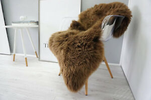 Brand New Large Brown  Genuine Merino Sheep skin Fur Rug Carpet