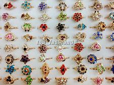 Wholesale lots 10pcs Mixed Crystal Rhinestone Gold Plated Wedding Rings FREE