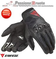Guanti pelle moto Dainese Mig C2 nero black leather gloves