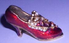 Feve Chaussure Escarpin Rouge (Métal Doré Et Pierres)