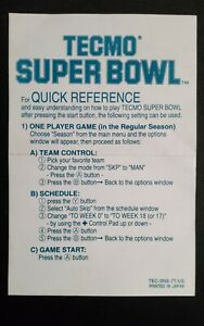 Tecmo Super Bowl SNES TEC-SNS-7T-US Quick Reference Card ONLY - NO GAME INCLUDED