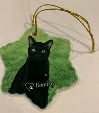 Bombay Cat Porcelain Star Shaped Christmas Ornament New