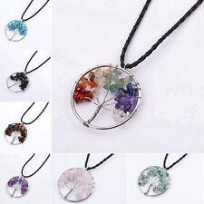 árbol de la vida Cristal Curativo Wire Wrap Gema Natural Collar Con Colgante