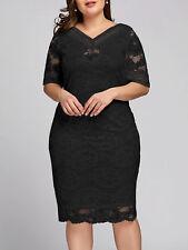2018 Spring Women Lace Slim Midi Dress Plus Size V Neck Half Sleeve Lace Dress