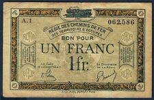 REGIE DES CHEMINS DE FER BON 1 FRANC Pirot 135.5 non daté en TTB n° A.1 062,586