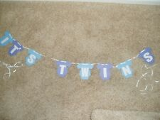 It'S Twins Baby Shower Hanging Banner Boys Party Blue Cute! Free Shipping!