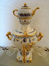 Samovar con tetera, porcelana figura, Gzhel, cobalto, URSS USSR
