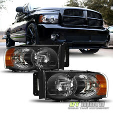 2002 2003 2004 2005 Dodge Ram 1500 2500 3500 Black Headlights Headlamps Set L R