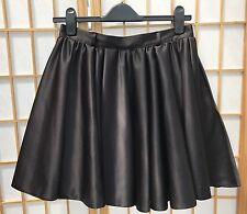 River Island Black Skirt Size 12 Full Circle Satin Feel Fabric Party 423