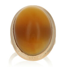 Yellow Gold Chalcedony Cocktail Solitaire Ring - 14k Oval Cabochon Cut 25.00ct
