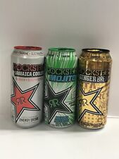 Rockstar Energy Drink Ginger Brew, Jamaica Cooler & Mojito. One Each Full Can