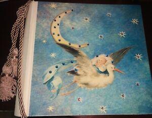 Baby Photo Album Terra Traditions Blue Swarovski Crystal Retro Stars Moon Tassel