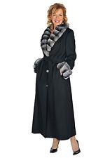 Natural Chinchilla Fur Collar Cashmere Coat Long