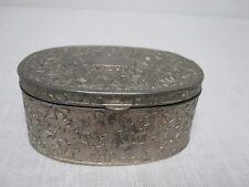 Godinger Silverplate Velvet Lined Oval Jewelry Trinket Box w Acanthus Leaf
