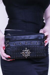 GOTHX SKULL HEAD STAR Crystal Ladies Handbag Clutch Evening Rock Goth Gothic Bag