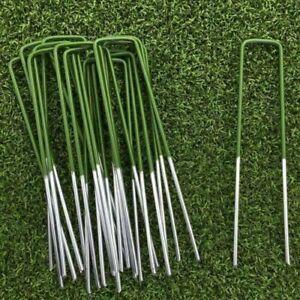 100x Artificial Grass Pins Green Galvanised Metal U Pegs Membrane Fabric Staple