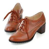 Brogue Women Wing Tip Oxfords Hot Retro Mid Chunky Heel Lace Up Pump US4-10.5
