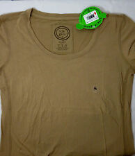 Life is Good Women Small C/S Cotton Scoop neck Fitted coffee br $36.00 NWT 5034
